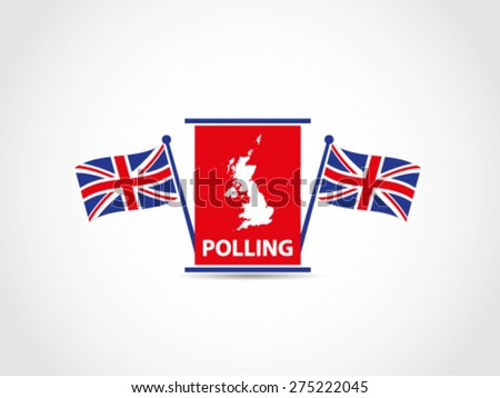 Podium UK Britain Flags Polling - stock vector