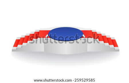 Podium with a red carpet for the awards  - stock vector