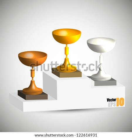 Podium with gold, silver and bronze cups vector - stock vector