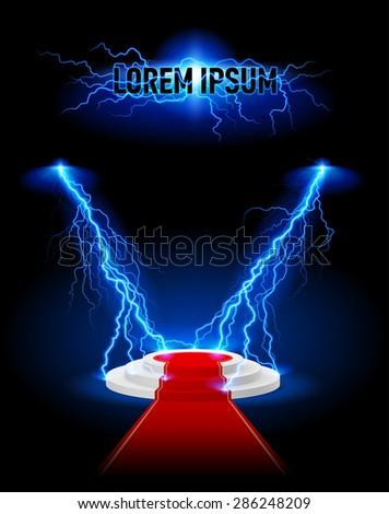 Podium with red carpet lightning strikes. Place for text - stock vector