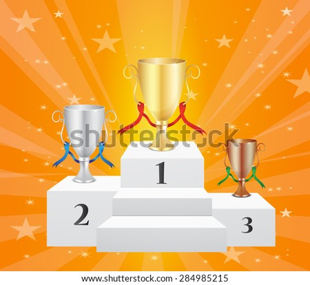 Podium with Trophies - Victory & Glory - Top 3 Ranks - stock vector