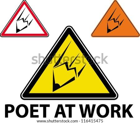 poet at work - stock vector