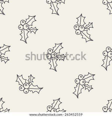 Poinsettia doodle drawing seamless pattern background