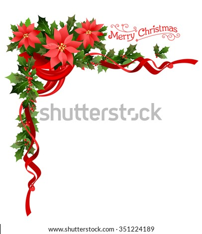 Poinsettia holiday corner. Holiday elements  for design card, banner,ticket, leaflet and so on. - stock vector