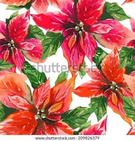 Poinsettia seamless pattern  - stock vector
