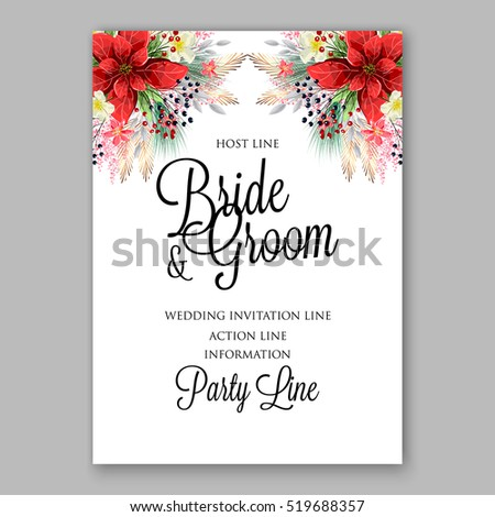 Poinsettia wedding invitation sample card beautiful stock vector poinsettia wedding invitation sample card beautiful winter floral ornament stopboris Images