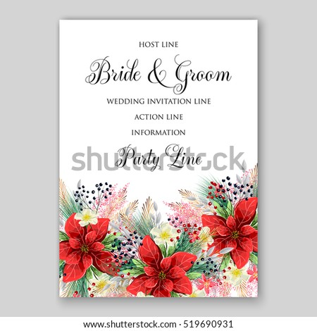 Poinsettia wedding invitation sample card beautiful stock photo poinsettia wedding invitation sample card beautiful winter floral ornament stopboris Image collections