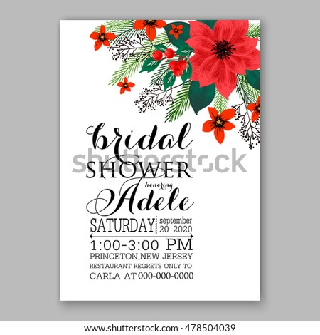Poinsettia christmas party invitation sample card stock vector poinsettia wedding invitation sample card beautiful winter floral ornament christmas party wreath poinsettia pine branch stopboris Gallery