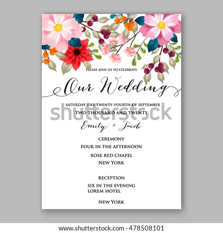Poinsettia wedding invitation sample card beautiful stock vector poinsettia wedding invitation sample card beautiful winter floral ornament christmas party wreath poinsettia pine branch stopboris Image collections