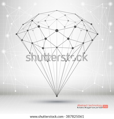 Point and curve constructed the crystal wire frame. Abstract geometric background - stock vector