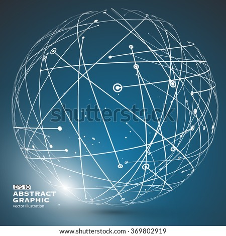 Point and curve constructed the sphere wireframe, technological sense abstract illustration. - stock vector