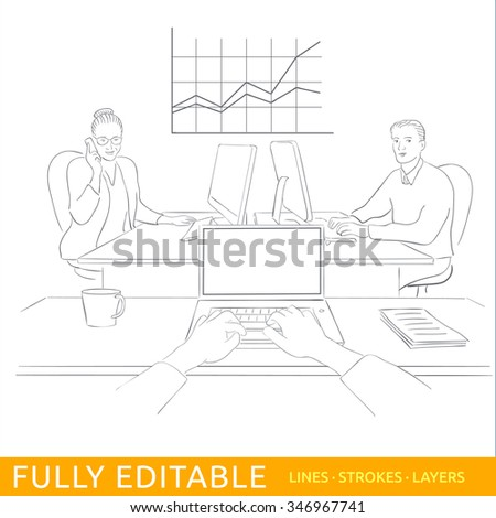 Point of view at office. Woman manager and male programmer are sitting at the opposite desks with a computer. POV view on empty screen. Fully editable outlines, saved brushes and layers. - stock vector