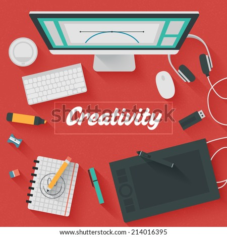 Point of View Flat Design Illustration: Creative office workplace. Icons set of business work flow items, elements and gadgets. - stock vector