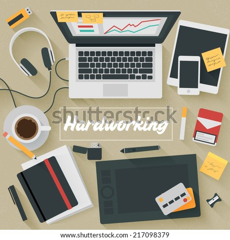 Point of View Flat Design Illustration: Hardworking. Icons set of business work flow items, elements and gadgets. - stock vector