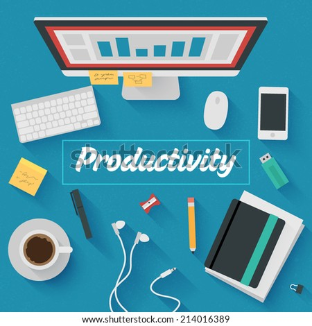 Point of View Flat Design Illustration: Productive office workplace. Icons set of business work flow items, elements and gadgets. - stock vector