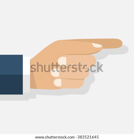 Point the finger. Direction. Hand man pointing. Flat design, vector Illustration. Point finger sign, icon. Press. Push. Pointer. Hand gesture. Touchscreen. Isolated hand pointing on a white background - stock vector
