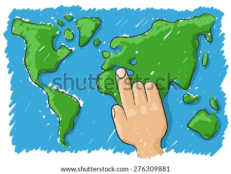 point the world - stock vector