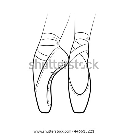 Pointe shoes. Ballet shoes. Vector hand-drawn illustration. Ballet dance studio symbol. - stock vector