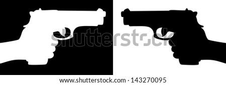 pointed gun, illustration - stock vector