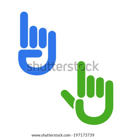 Pointer finger hand button icon vector  - stock vector