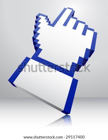 pointer icon 3d - stock vector