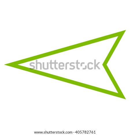 Pointer Left vector icon. Style is outline icon symbol, eco green color, white background.