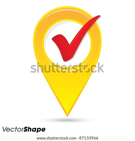 Pointer pin up icon with check mark, web design element, approved idea concept, vector illustration - stock vector