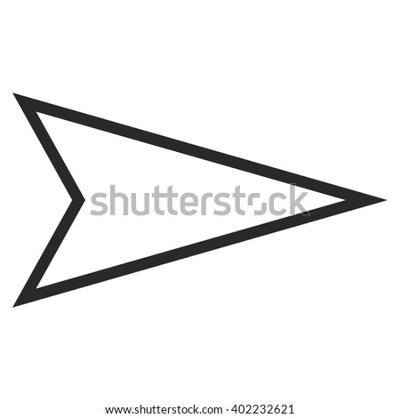 Pointer Right vector icon. Style is outline icon symbol, gray color, white background.