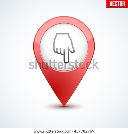 Pointer target for maps With hand on display. For web or applications. - stock vector