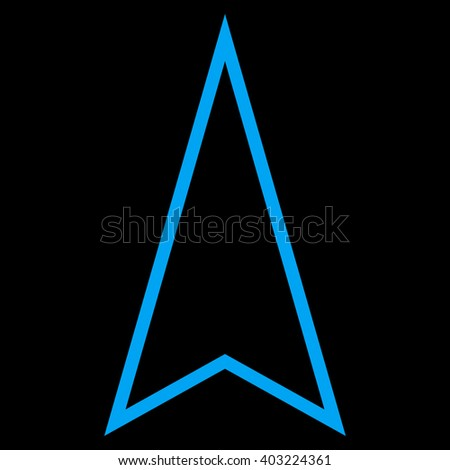 Pointer Up vector icon. Style is contour icon symbol, blue color, black background.