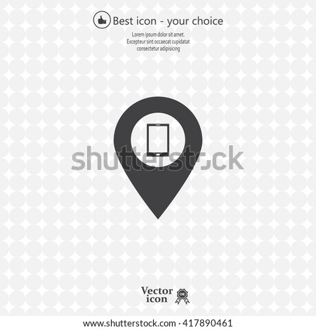 pointer with the phone icon. vector design - stock vector