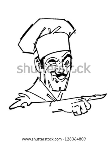 Pointing Chef - Retro Clipart Illustration - stock vector