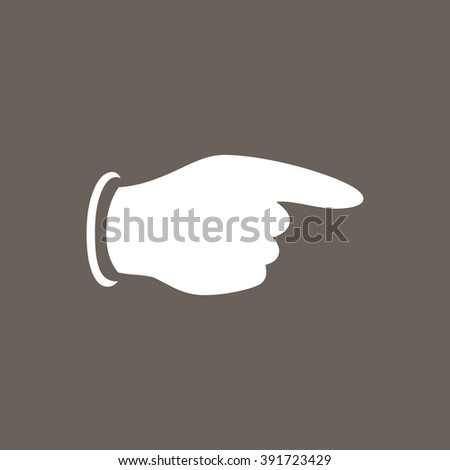 Pointing Finger Icon on Dark Gray Color. Eps-10. - stock vector