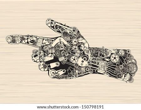 Pointing Finger Mechanic Hand. - stock vector