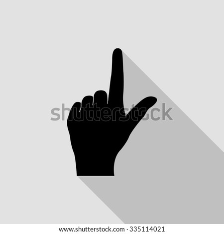pointing finger vector icon with long shadow - stock vector
