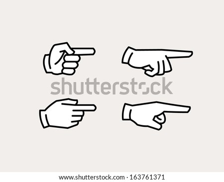 pointing hand icons - stock vector