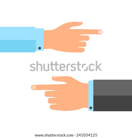 Pointing hand isolated on white background - stock vector