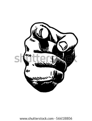 Pointing Hand - Retro Clip Art - stock vector