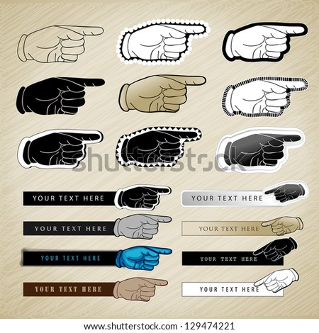 Pointing Hands Isolated On Brown Background - Vector Illustration, Graphic Design Editable For Your Design - stock vector