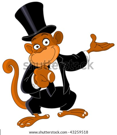 Pointing monkey - stock vector