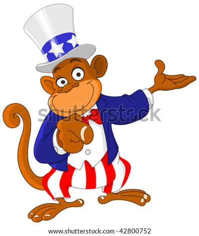 Pointing monkey dressed as Uncle Sam icon I want you - stock vector