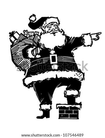 Pointing Santa - Retro Clipart Illustration - stock vector