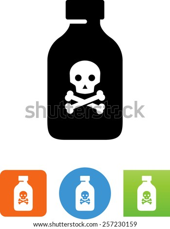 Poison bottle with death symbol for download. Vector icons for video, mobile apps, Web sites and print projects.  - stock vector