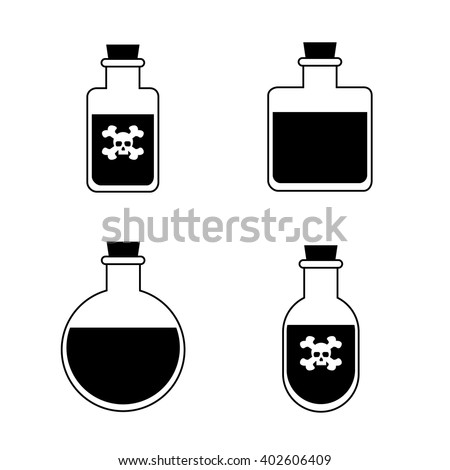 Poison bottle with death symbol, for video, mobile apps, web and print. - stock vector