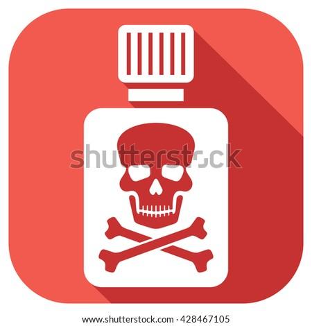 poison bottle with skull symbol  - stock vector