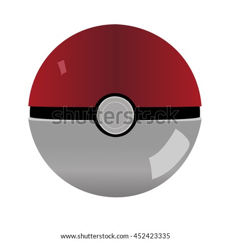 Pokeball icon. Vector isolated on white background - stock vector