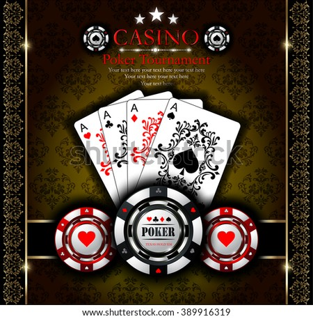 Poker aces. Poker chip. Casino. Ornaments background.Vip.Vintage style and Poker Tournament label. All-in. - stock vector