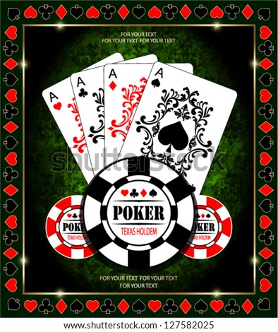 Poker Aces. Vector background. - stock vector