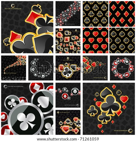 Poker and casino background. Casino card symbols. Vegas signs. Seamless casino pattern.