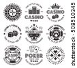 Poker and casino set of vector black gambling emblems, labels, badges or logos in vintage style isolated on white background